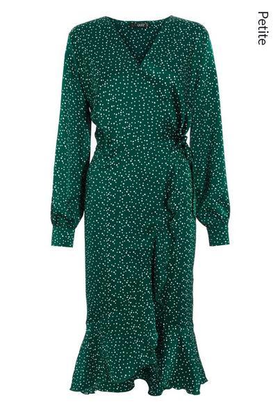 Petite Green Spot Wrap Midi Dress